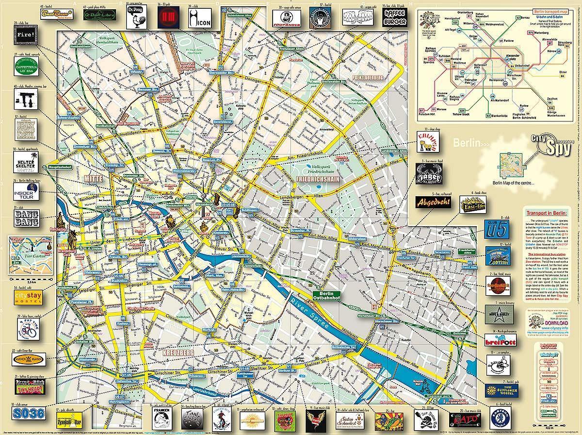 berlin látnivalók térkép Berlin látnivalók térkép   Berlin fő látnivalók térkép (Németország) berlin látnivalók térkép